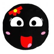 Soft Smiley Emoticon Black Round Cushion Pillow Stuffed Plush Toy Doll (Bow Girl)
