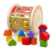 Joyeee Wooden Baby Shape Color Recognition Intelligence Sorter - Cylinder Shaped Early Education Shape Colour & Number S