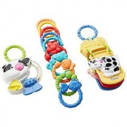 Includes two linkable first toys for baby plus 10 more Link-a-doos links-Musical Cow Teether plays a farm tune and mo