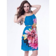 R79713 Multi Flowers Ladies Fashion Dress With Belt