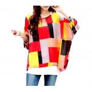 Blusa in chiffon oversize taglio asimmetrico maglia elegante e casual con stampa geometrica rossa 003