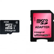 Card Memorie Micro SD CL10 cu Adaptor 90/45MBS INTEGRAL 32GB INMSDH32G10-90/45U1 Integral
