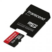 Transcend 32GB MicroSDHC Class 10 UHS-1 Memory Card with Adapter Up to 60MB/s (TS32GUSDU1)