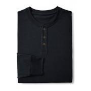 ランズエンド LANDS' END メンズ・スーパーT/ヘンリーネック/長袖/Tシャツ(ブラック)