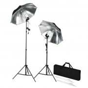 vidaXL Мобилно студио със светкавици стативи и чадъри