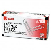 Nonskid Standard Paper Clips, Jumbo, Silver, 100/box, 10 Boxes/pack