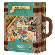 MasterPieces Travel Suitcases Safe Travels Jigsaw Puzzle, Art by Kate Ward Thacker, 1000-Piece