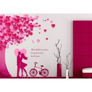 Walltola Vinyl Romantic Couple Valentines Day Under The Heart Leaves And Love Quote With Bicycle Abstract Wall Decal