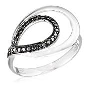 Orphelia Women's Earrings 925 Silver Rhodium-Plated Zirconia Black Brilliant Cut Size K/) - 7092/2/50