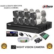 Dahua HDCVI DH-HCVR4108HS-S2 8CH DVR + Dahua HDCVI DH-HAC-HFW1000RP-0360B Bullet Camera 8Pcs + 2TB HDD + Active Cable + Active Power Supply Full Combo