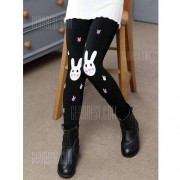 GearBest Rabbit Print Plush Lined Leggings