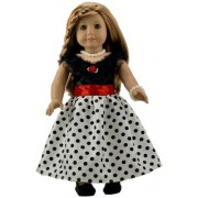 BUYS BY BELLA Black Lace and Polka Dot Dress with Red Ribbon Bow for 18 Inch ...