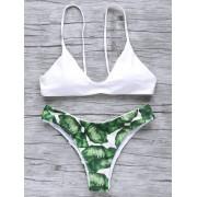 rosegal Palm Tree Spaghetti Straps Bikini