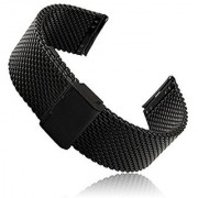 Gear S2 Classic SM-R732 Watch Band Threeeggs Stainless Steel Watch Strap Bracelet for Samsung Galaxy Gear S2 Classic SM-R732 Smart Watch (A - Milanese Black)