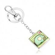 Kulcstartó, négyzet kidomborodó fénymázzal, elefánt spirálokkal, szív, zöld sávok