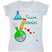 Tricou baieti pictat manual, 8-9 ani, Chimie