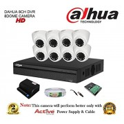 Dahua DH-XVR4108HS 8CH Compact DVR 1Pcs + Dahua DH-HAC-HDW1100RP-0360B 1MP Dome Camera 8Pcs + 1TB HDD + Active Copper Cable + Active Power Supply Full Combo Kit.