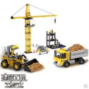 COGO 13726 Construction Series construction site bulldozer truck Car 606pcs Building Block Sets Educational DIY Bricks Toys