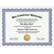 Boa Constrictor Degree: Custom Gag Diploma Doctorate Certificate (Funny Customized Joke Gift - Novelty Item)
