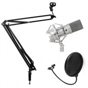 Studio Microphone Set with Microphone, Microphone Boom Arm & Pop Shield Silver