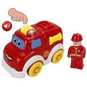 ToyZe Fire Truck Toy and Fireman Cartoon Style Fire Engine With Fun Lights and Sounds Touch Sensor Technology