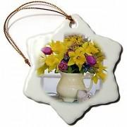 3dRose orn_83325_1 Spring Flower Bouquet in Vase-NA01 BJA0099-Jaynes Gallery-Snowflake Ornament Porcelain 3-Inch