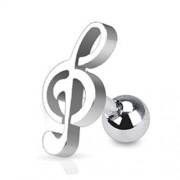 Helix piercing muzieknoot