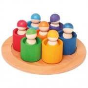 Grimms Seven Friends in 7 Bowls: Set of Wooden Sorting & Matching Rainbow Peg Dolls with Tray