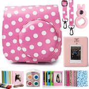 Fujifilm Instax Mini 8 Instant Camera Accessory Bundles Set (Included: Pink Vintage Instax Mini 8 Case Bag With Film Count Show/ Diamond Style Mini Book Album / Pink Rabbit Design Mini 8 Close-Up Lens(Self-Portrait Mirror)/ Colorful Close-Up Lens For Mini