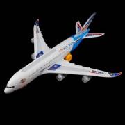 Airbus A380 Avion de juguete con luces de colores y de efectos de sonido - Blanco + Azul (3 x AA)