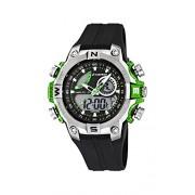 Calypso watches - K5586/3 - Montre Garçons - Quartz Analogique et digitale - Alarme/Chronomètre/Eclairage - Bracelet Caoutchouc Noir