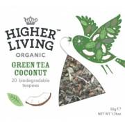Ceai verde organic cu nuca de cocos Higher Living