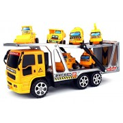 Construction Tow Trailer Children's Kid's Friction Toy Truck Ready To Run w/ 6 Mini Toy Construction Trucks, No...