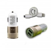 Chargeur Voiture Allume-Cigare Ultra Rapide Car Charger 2x Usb 2100ma + 1000ma (+Câble Offert) Or Gold Pour Asus Zenfone 3 Ultra Zu680kl
