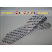 Stylish design-Black on Silver Silk Tie- Handmade in Thailand
