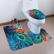 rosegal Nonslip Peacock Feathers Printed 3Pcs Bathroom Rugs Set