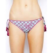 Baku Mediterranean Ruffle String Bikini Bottom - Pacific blue/purple (Sizes: UK 14)