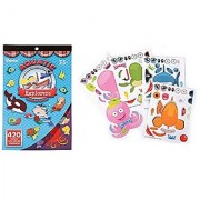 2 BOOKS of SEA Life ANIMAL - Mini STICKERS (420 each) & 4 Make a SEA Creature Sticker Sheets - OCTOPUS Turtle CLOWNFISH AQUATIC Explorers Kid's ACTIVITY/Craft PARTY Favors