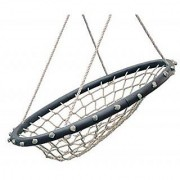 SWINGING MONKEY PRODUCTS Hammock Lounge Chair 32 Spider Web Swing Light Brown - Porch Swing Great for Adults Nylon Rope with Padded Steel Frame Tree Swing Children's Swing Easy Installation