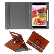 Acm Rotating 360° Leather Flip Case For Lava Ivory M4 Cover Stand Brown