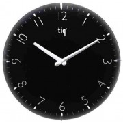 Ceas rotund de perete, D-300mm, cifre arabe, TIQ - dial negru