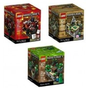 Minecraft Lego Collectible 3 Piece Set (The Original) Minecraft 21102, The Village 21105, The Nether 21106. (Recommended Age 10 15 Yrs)