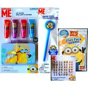 Minions Movie Exlcusive Lip Gloss Gift Set With Bonus Tin , Sticker Earrings Set And Minion Glow Wand And Despicable Me Play Pack Grab And Go