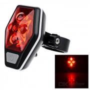 CTSmart impermeable ultra brillante de 4 Modo 4-LED de luz roja Bicicleta Luz trasera - Negro + Rojo (2 x AAA)