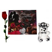 valentines day gifts for lover - Sweetheart Love Diary,Soft Teddy, Artificial Red Rose