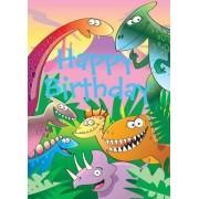 Dinosaurs - Happy Birthday Card-Book by Mackerel Design