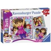 Puzzle Dora Si Prietenii, 3X49 Piese