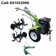 Motocultor diesel Gardelina 1100BE cu roti cauciuc 500x10, plug LY reversibil