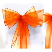 Organza Chair Sashes - Orange - Packet of 5