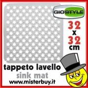 TAPPETO LAVELLO RIFLORI 32 x 32 cm GIOSTYLE BIANCO